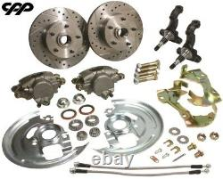 68-74 Chevy Nova Front Disc Brake Conversion Kit Drilled Rotors Stainless Hoses