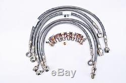 Bmw 2001-2002 R1150gs Abs Galfer 5 Line Front / Rear Braided Brake Line Kit