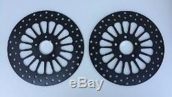 Dna Black Stainless 11.5 Dual Front Super Spoke Brake Disc Rotor Set Harley