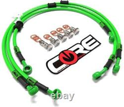 Kawasaki ZX6R Brake Lines 2005 2006 Front-Rear Green Stainless Steel