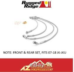 Rugged Ridge Front & Rear SS Braided Brake Hose Kit 07-18 Jeep Wrangler JK JKU