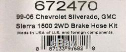 Russell 672470 Stainless Brake Hose Line Kit 1999-06 C1500 Silverado Sierra 2WD