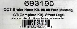 Russell 693190 Stainless Steel Braided Brake Line Hose Kit Mustang GT 1996-1998