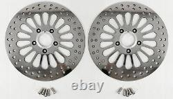 Super Spoke Polished Stainless Dual Front 11.5 Disc Brake Rotors Harley Touring