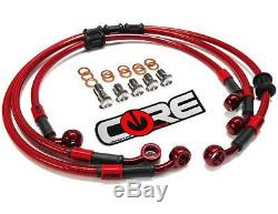 Yamaha R1 Brake Lines 2004 2005 2006 Front and Rear Red Custom Braided Stainless