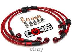 Yamaha R6S Brake Lines 2006 2007 2008 2009 Front and Rear Red Braided Stainless